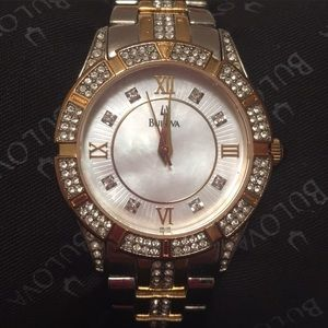 Bulova Woman's Crystal Mother of Pearl Watch